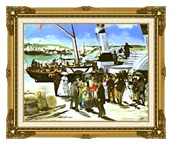 Edouard Manet The Departure Of The Folkestone Boat canvas with museum ornate gold frame