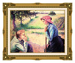 Camille Pissarro The Chat canvas with museum ornate gold frame