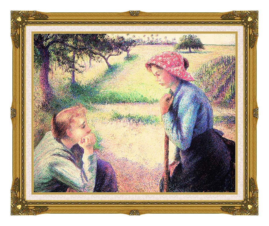 Camille Pissarro The Chat with Museum Ornate Frame w/Liner