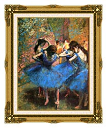 Edgar Degas Dancers In Blue canvas with museum ornate gold frame