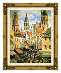 Camille Pissarro The Old Market Place In Rouen And The Rue De Lepicerie canvas with museum ornate gold frame