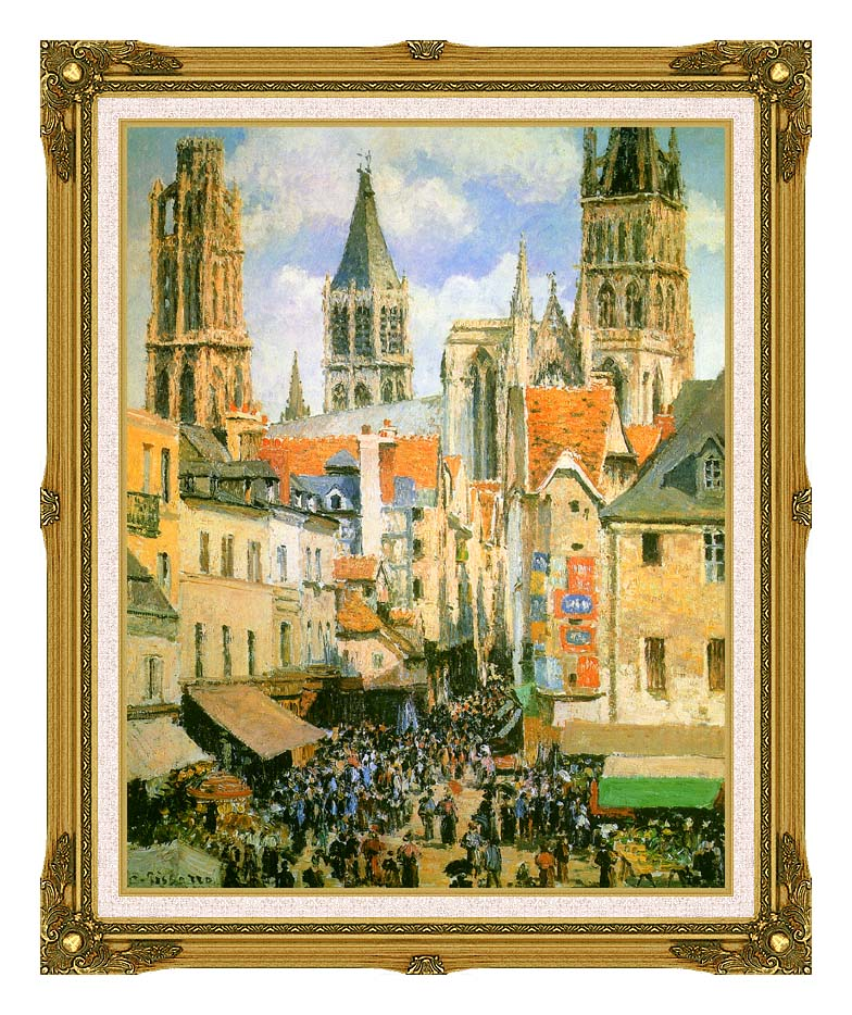 Camille Pissarro The Old Market-Place in Rouen and the Rue de l'Epicerie with Museum Ornate Frame w/Liner