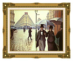 Gustave Caillebotte Paris A Rainy Day canvas with museum ornate gold frame