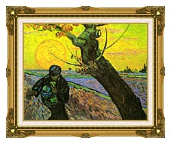 Vincent Van Gogh The Sower 1888 canvas with museum ornate gold frame
