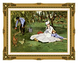 Edouard Manet The Monet Family In Their Garden At Argenteuil canvas with museum ornate gold frame