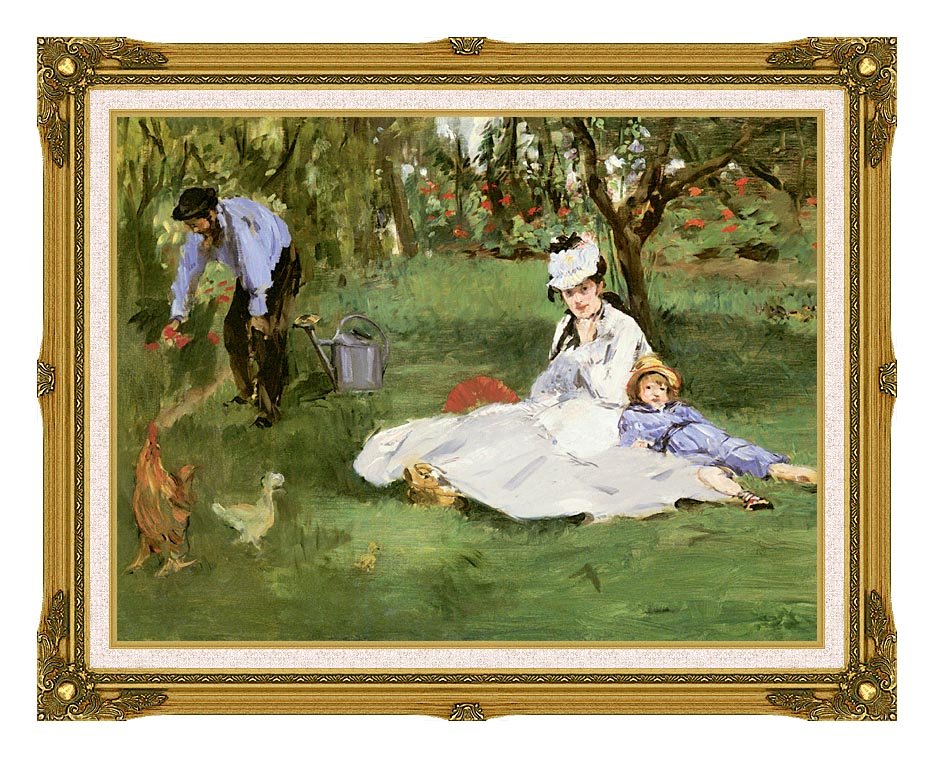Edouard Manet The Monet Family in their Garden at Argenteuil with Museum Ornate Frame w/Liner