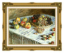Claude Monet Still Life Apples And Grapes canvas with museum ornate gold frame