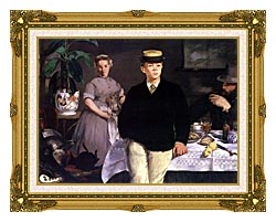 Edouard Manet Luncheon In The Studio canvas with museum ornate gold frame