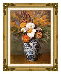Paul Cezanne Dahlias In A Delft Vase canvas with museum ornate gold frame