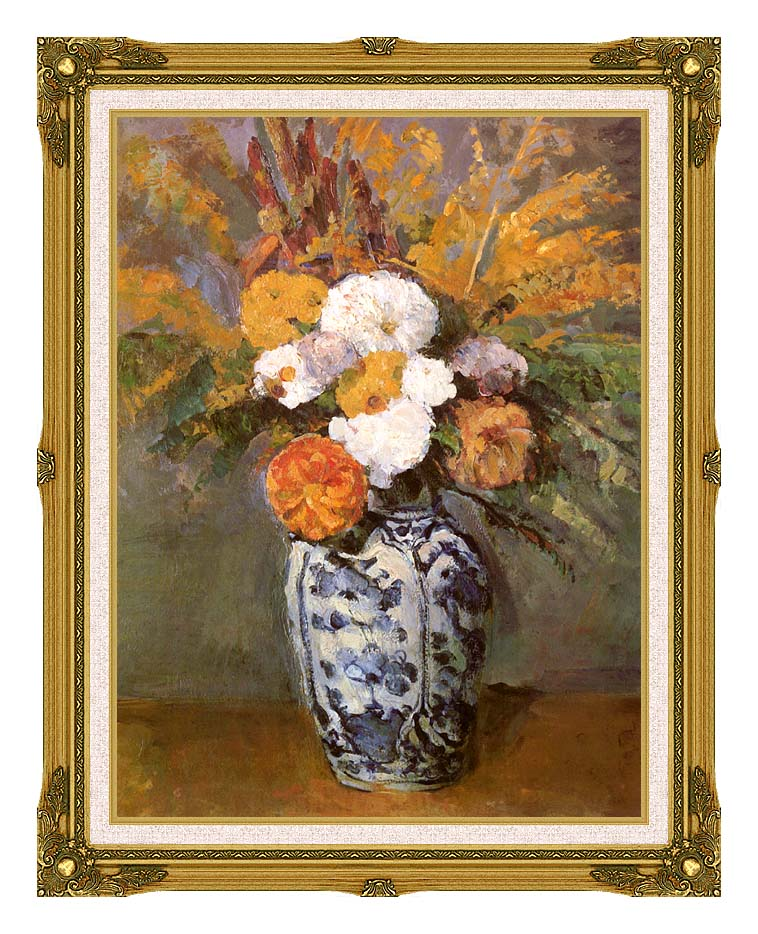 Paul Cezanne Dahlias in a Delft Vase with Museum Ornate Frame w/Liner