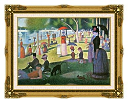 Georges Seurat Sunday Afternoon On The Island Of La Grande Jatte canvas with museum ornate gold frame