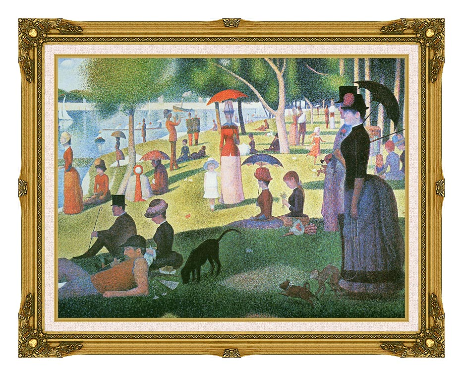 Georges Seurat Sunday Afternoon on the Island of La Grande Jatte with Museum Ornate Frame w/Liner