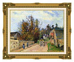 Camille Pissarro The Mailcoach   The Road From Ennery To The Hermitage canvas with museum ornate gold frame