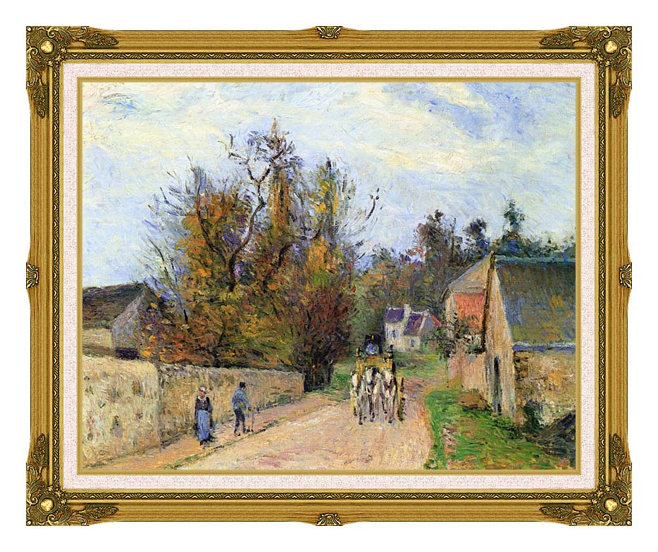 Camille Pissarro The Mailcoach - The Road from Ennery to the Hermitage with Museum Ornate Frame w/Liner