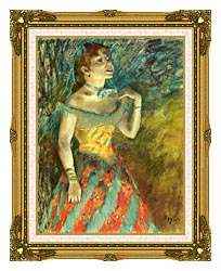 Edgar Degas The Singer In Green canvas with museum ornate gold frame