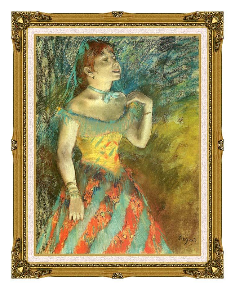 Edgar Degas The Singer in Green with Museum Ornate Frame w/Liner