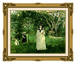 Berthe Morisot Chasing Butterflies canvas with museum ornate gold frame