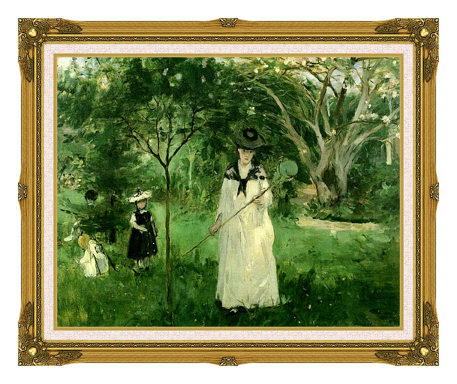 Berthe Morisot Chasing Butterflies with Museum Ornate Frame w/Liner