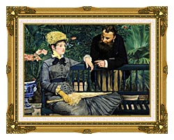 Edouard Manet In The Conservatory canvas with museum ornate gold frame