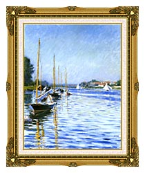 Gustave Caillebotte Boats On The Seine At Argenteuil canvas with museum ornate gold frame