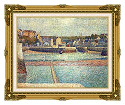 Georges Seurat Port En Bessin The Outer Harbor At Low Tide canvas with museum ornate gold frame