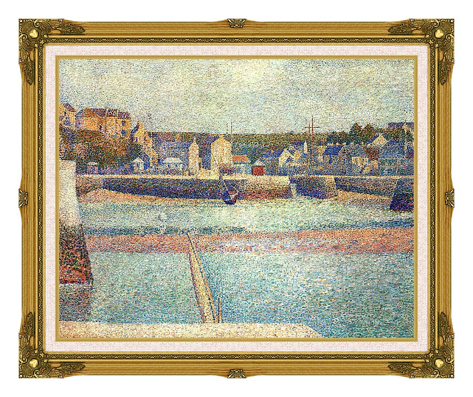 Georges Seurat Port-en-Bessin, The Outer Harbor at Low Tide with Museum Ornate Frame w/Liner