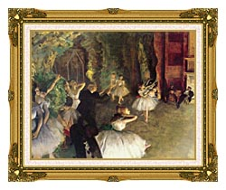 Edgar Degas Ballet Rehearsal On Stage canvas with museum ornate gold frame