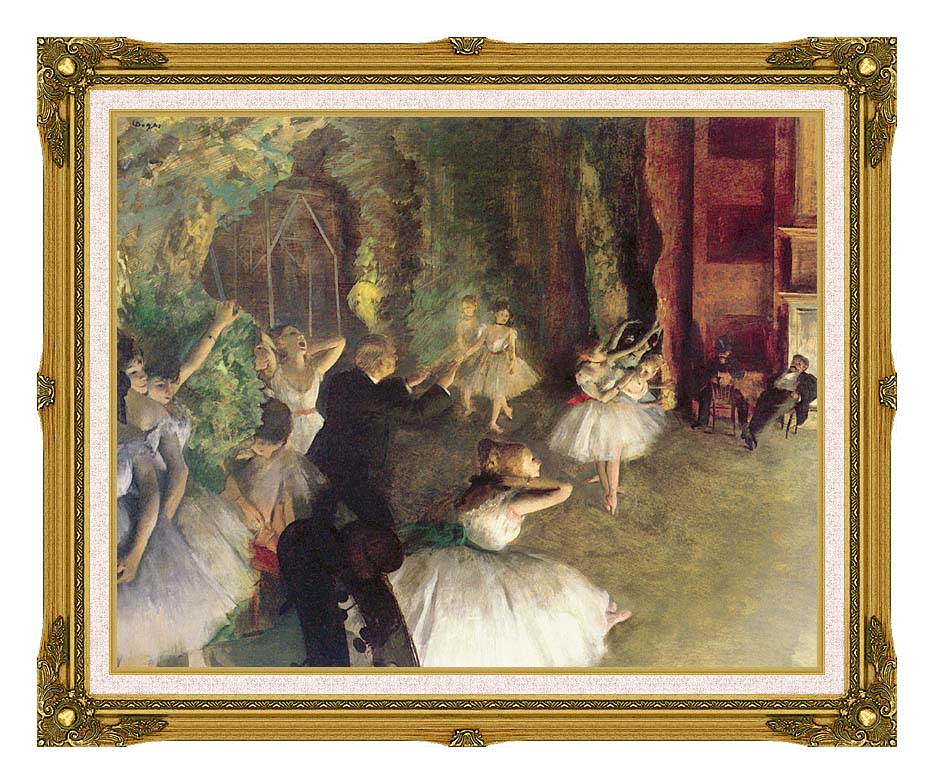 Edgar Degas Ballet Rehearsal on Stage with Museum Ornate Frame w/Liner
