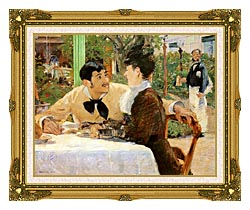 Edouard Manet In The Garden Restaurant Of Pere Lathuille canvas with museum ornate gold frame