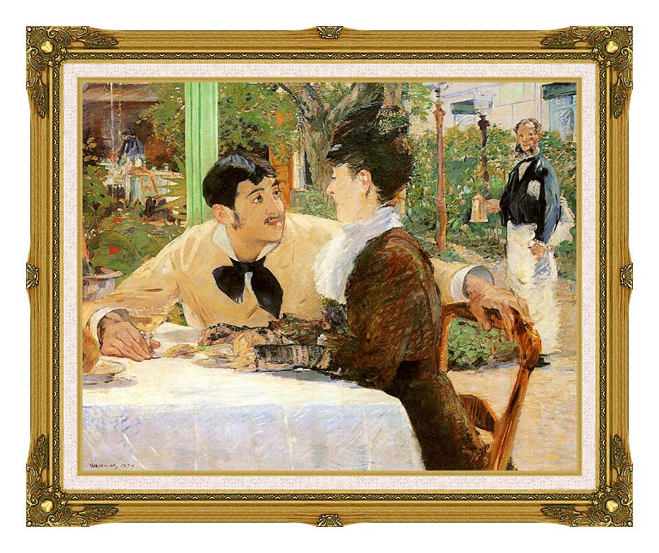 Edouard Manet In the Garden Restaurant of Pere Lathuille with Museum Ornate Frame w/Liner