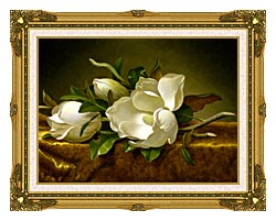 Martin Johnson Heade Magnolias On A Gold Velvet Cloth canvas with museum ornate gold frame