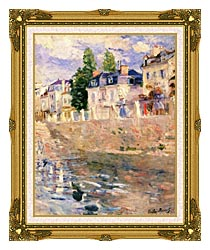 Berthe Morisot The Quay At Bougival canvas with museum ornate gold frame