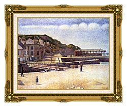 Georges Seurat Port En Bessin canvas with museum ornate gold frame