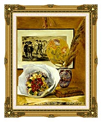 Pierre Auguste Renoir Still Life With Bouquet canvas with museum ornate gold frame