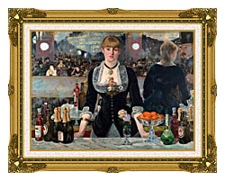 Edouard Manet A Bar At The Folies Bergere canvas with museum ornate gold frame