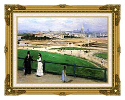 Berthe Morisot View Of Paris From The Trocadero canvas with museum ornate gold frame