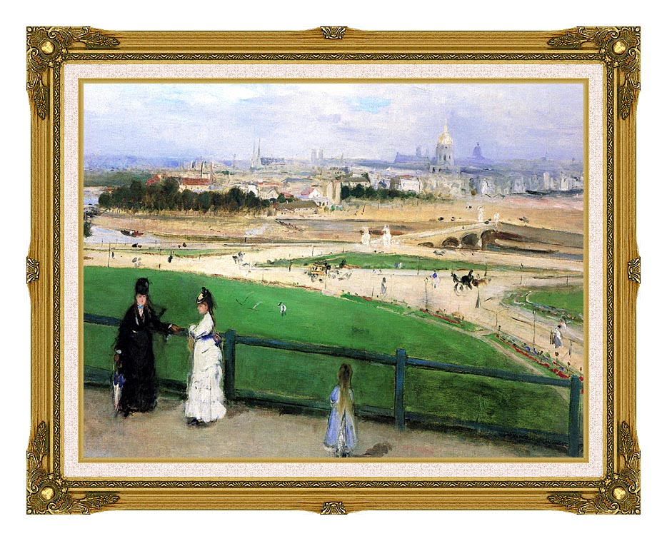 Berthe Morisot View of Paris from the Trocadero with Museum Ornate Frame w/Liner