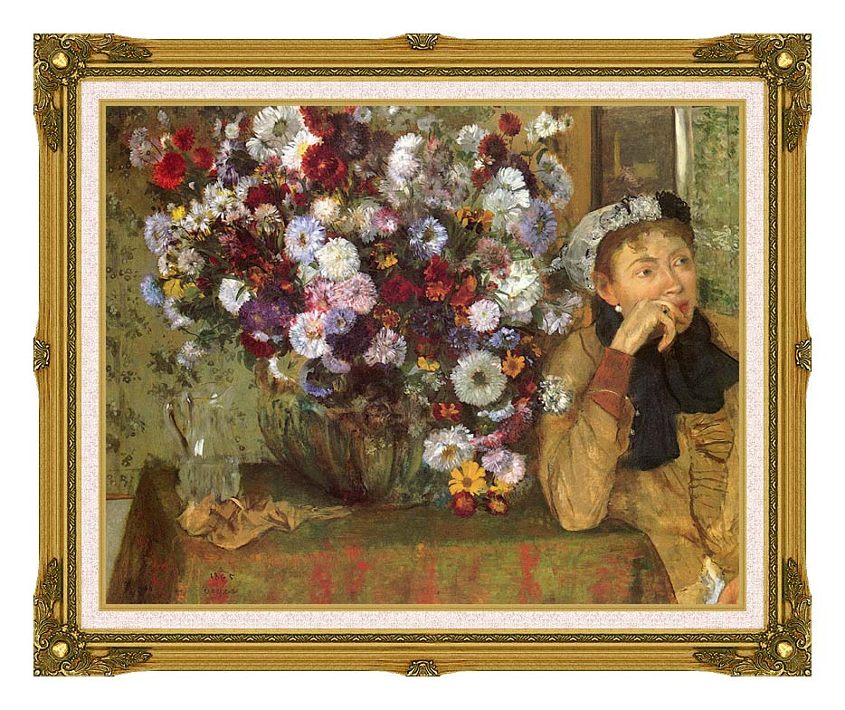 Edgar Degas Woman with Chrysanthemums with Museum Ornate Frame w/Liner