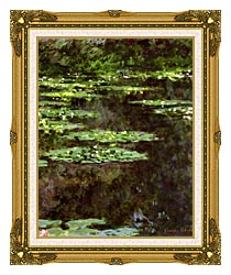 Claude Monet Water Lilies 1904 Portrait Detail canvas with museum ornate gold frame