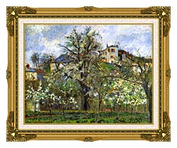Camille Pissarro Kitchen Garden And Flowering Trees Spring Pontoise canvas with museum ornate gold frame