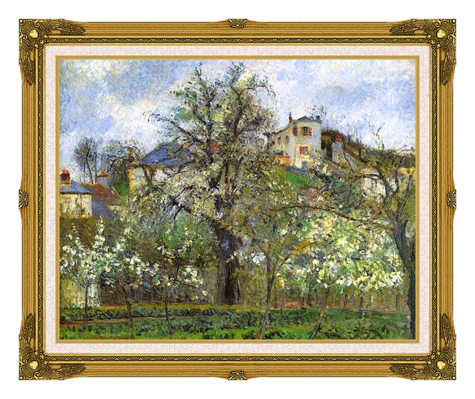 Camille Pissarro Kitchen Garden and Flowering Trees, Spring, Pontoise with Museum Ornate Frame w/Liner