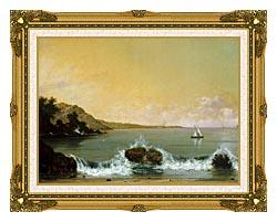 Martin Johnson Heade Rio De Janeiro Bay Left Detail canvas with museum ornate gold frame