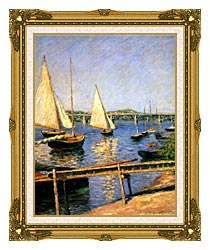 Gustave Caillebotte Sailing Boats At Argenteuil canvas with museum ornate gold frame