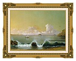 Martin Johnson Heade Rio De Janeiro Bay Right Detail canvas with museum ornate gold frame