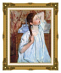 Mary Cassatt Girl Arranging Her Hair canvas with museum ornate gold frame