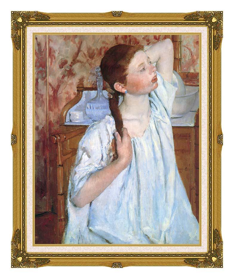 Mary Cassatt Girl Arranging Her Hair with Museum Ornate Frame w/Liner