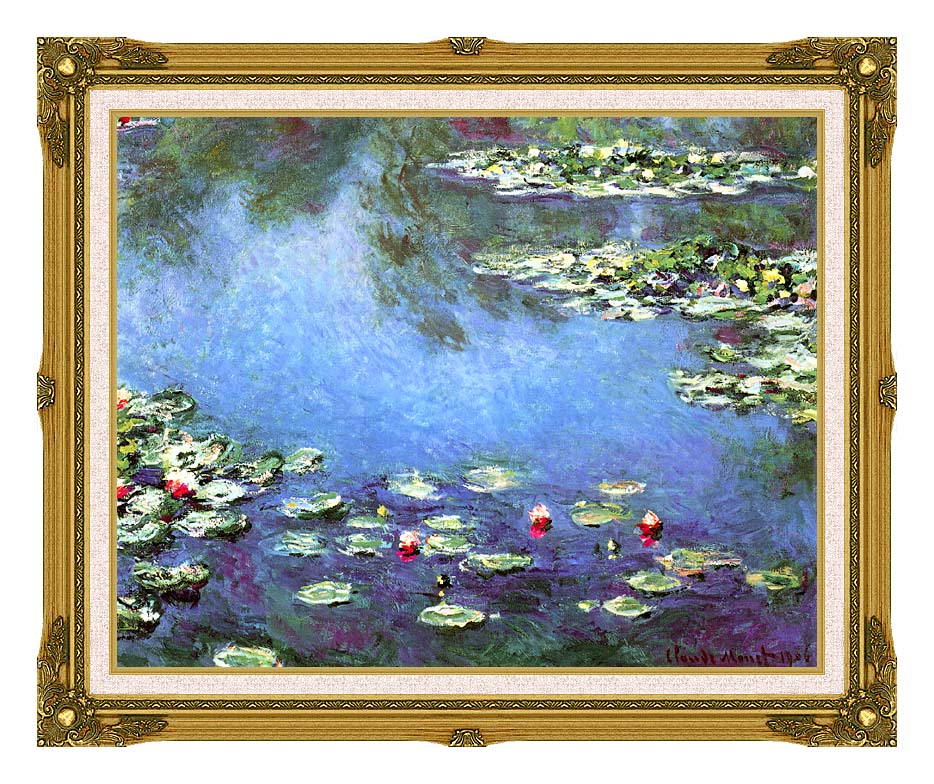 Claude Monet Water Lilies 1906 (detail) with Museum Ornate Frame w/Liner