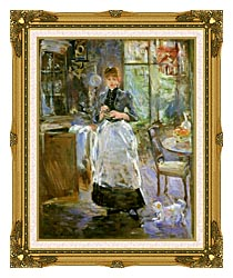 Berthe Morisot In The Dining Room canvas with museum ornate gold frame