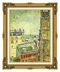 Vincent Van Gogh Paris Seen From Vincents Room In The Rue Lepic canvas with museum ornate gold frame