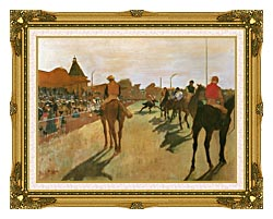 Edgar Degas Racehorses Before The Stands canvas with museum ornate gold frame